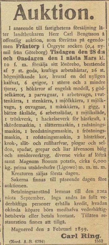 Göteborgs Aftonblad 25 februari 1899