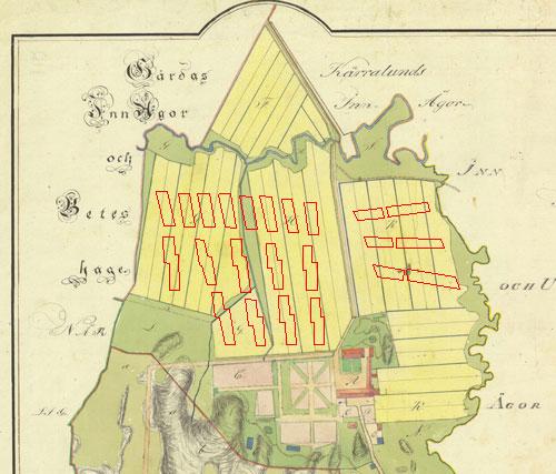 På kartan från år 1815 har jag lagt in den tänkta framtida bebyggelsen.