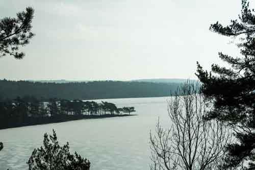 Stora Torps tånge och istäcket på Stora Delsjön. Foto: Per Hallén 2013.