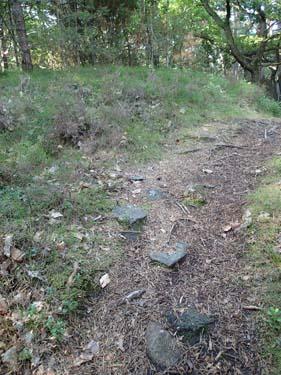 I stigen kan man bäst se stenarna som utgör graven.