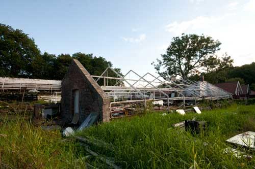Växthusen vid Lilla Torp rivs under oktober månad 2011. Foto: Per Hallén.