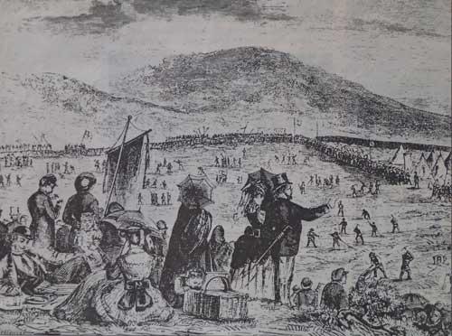 Trädplantering på 1870-talet liknade ett militärt fälttåg! Samtida träsnitt av C Hellqvist.