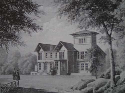 """Det nyligen ombyggda Stora Torp under 1860-talet. Byggnaden låg på den plats där """"stenslottet"""" idag står."""