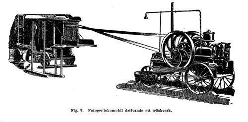 Fotogénlokomobil som driver att tröskverk, ur Nordisk Familjebok.