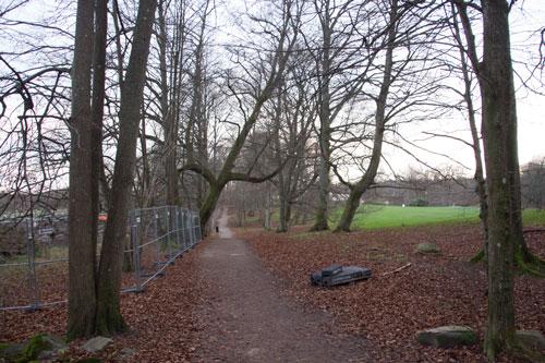 Från den gamla 1700-tals allén har man en utmärkt promenadväg för att beskåda bygget. Foto: Per Hallén 2014