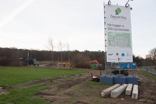 Här byggs 500 nya bostäder, det börjar att märkas....Foto: Per Hallén 2014