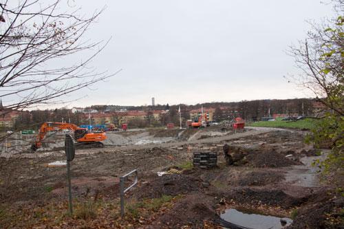 Området där HSB:s första förening håller på att byggas. Foto: Per Hallén 2014.