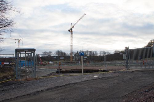 Infarten till bygget nära Beckmans gatukök. Foto: Per Hallén 2015.