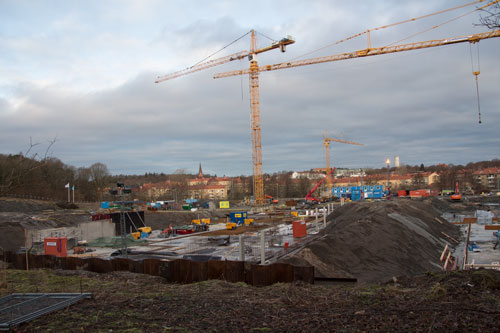 Även NCC-husets källare växer snabbt fram. Foto: Per Hallén 2015.