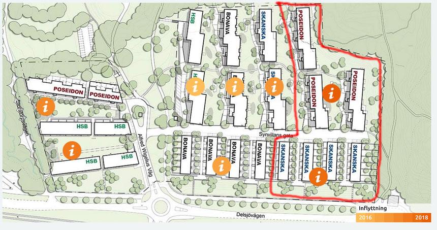 Den sista etappen, inringat med rött, har nu börjat att byggas. Kartan är hämtad från Orgrytetorp.se
