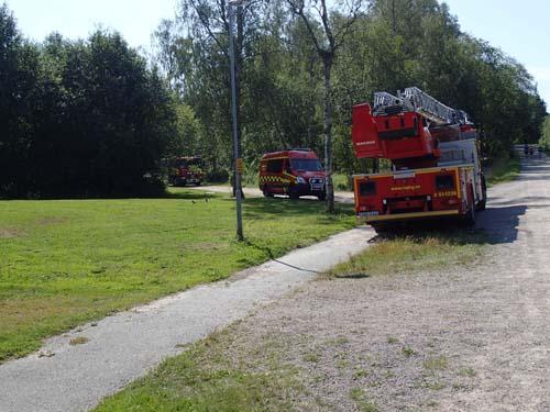 Brandbilar i Skatås. Foto: Per Hallén 2014.