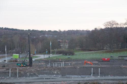 Vy över byggarbetsplatsen. Foto: Per Hallén 2014