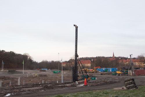 Pålning pågår. Foto: Per Hallén 2014