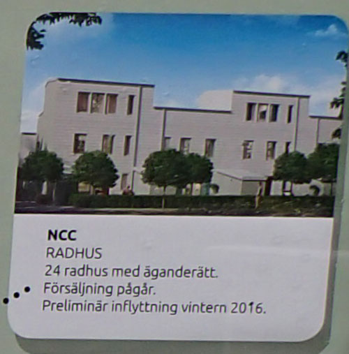 Enligt plankartan skall NCCs radhus få detta utseende. Foto: Per Hallén 2015