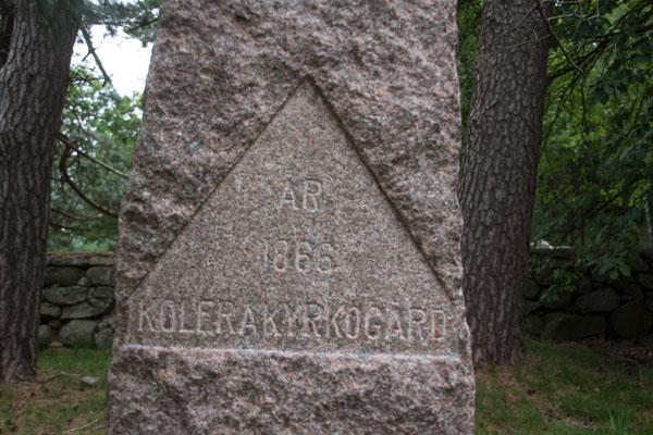 Stenen som restes över offren efter koleran 1866 i Örgryte. Foto: Per Hallén 2015