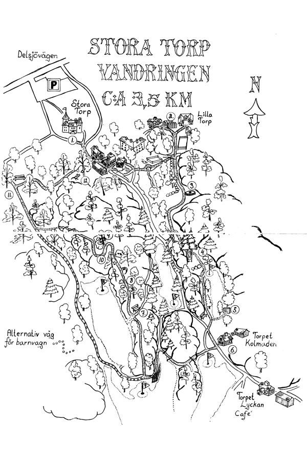 """Karta ur """"Upptäck Delsjön""""."""