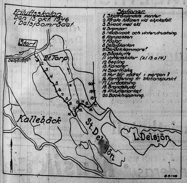 Karta över aktiviteterna den 13 oktober 1946. Ur GT.