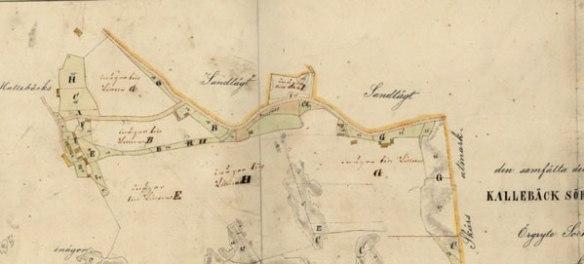 Kallebäck Mellangården och Kallebäck Sörgården 1868