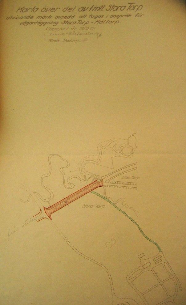 Den mark och vägsträcka som gavs i gåva till Göteborgs stad.