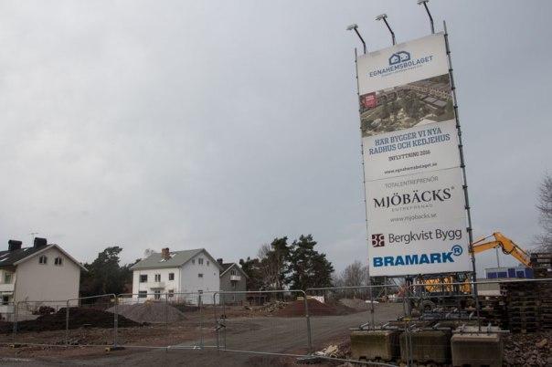 Egnahemsbolagets byggarbetsplats. Foto: Per Hallén 2016