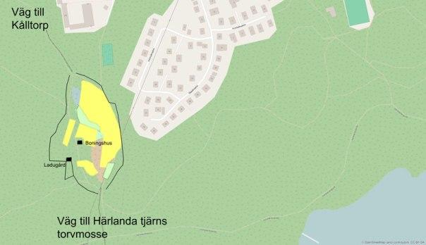 Korpås ca 1843, kartöverlägg utfört av Per Hallén 2016.
