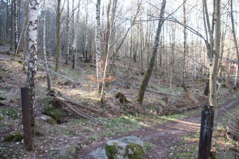 Vid dessa grindstolpar, som förr var gränsen för vattenverket möter forntidsvägen den nyare från 1860-talet. Foto: Per Hallén 2016