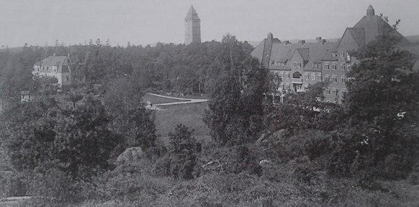 Sanatoriet omkring år 1920. Mitt i bilden syns vattentornet. Foto: Arvid Posse. Bilden är hämtad ur Edman 2007, s. 25.