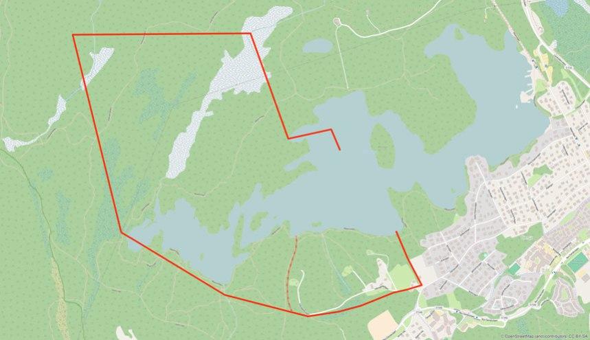 Gökegårdens gränser efter laga skifte av utmarken, inritade med tjock röd linje,