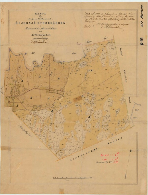 Laga skifteskartan över Storegården från 1871.