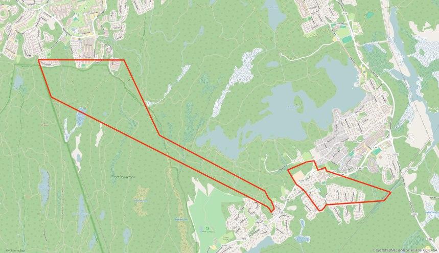 Mölnlyckegårdens gränser efter skiftet placerade över open streetmap, kartöverlägg: Per Hallén