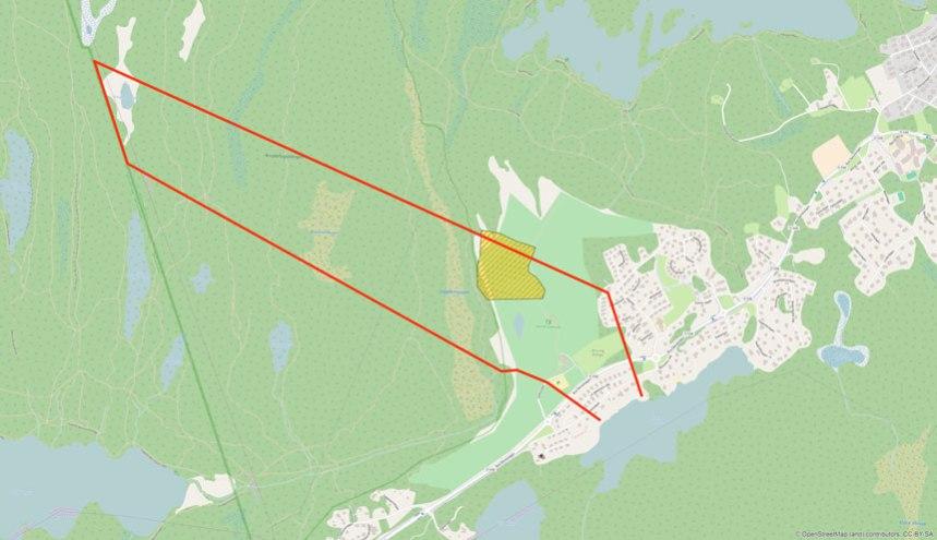 Hultet Övergårdens område, samt soptippen. Kartöverlägg: Per Hallén 2016