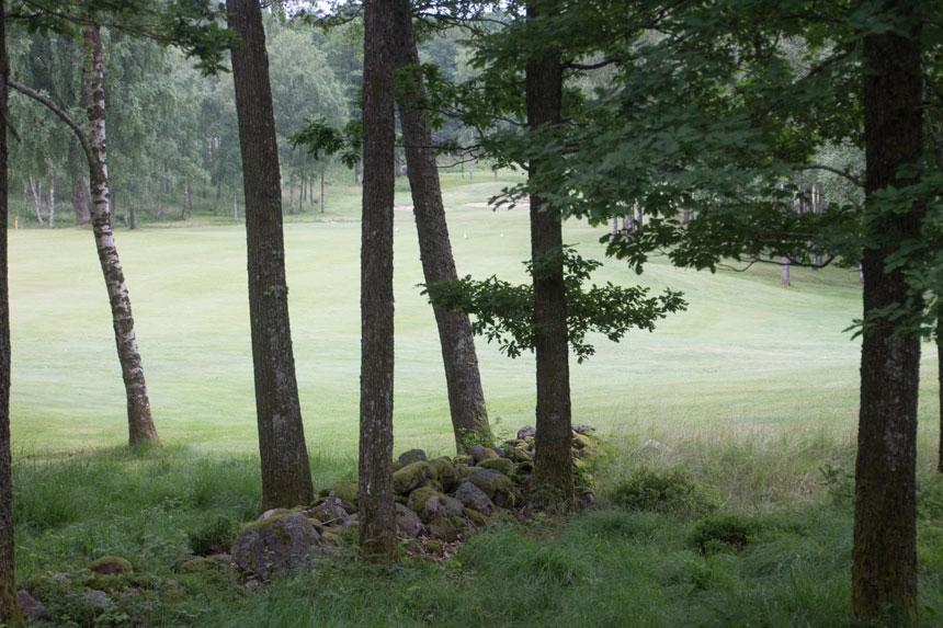 Rester av kulturlandskapet finns kvar inom golfbanans område. Foto: Per Hallén 2016