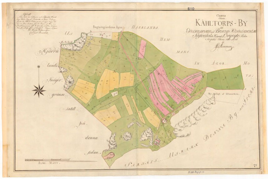 Storskifteskartan från år 1780. Lantmäteristyrelsens arkiv, Örgryte socken Kålltorp nr 1-3, 1780.