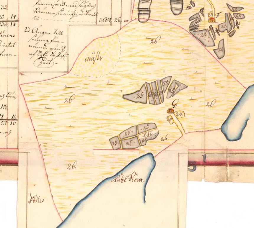 1701 års karta över Hultet Nedergården