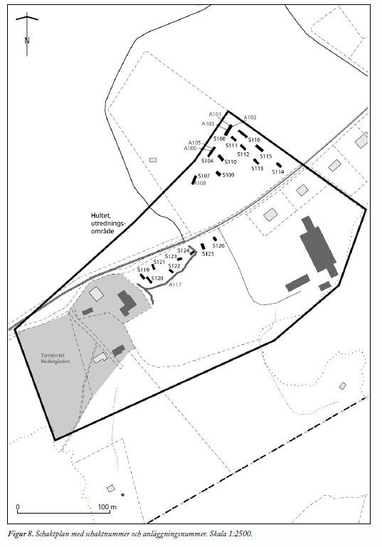Provgroparnas omfattning vid 2011 års utgrävning.