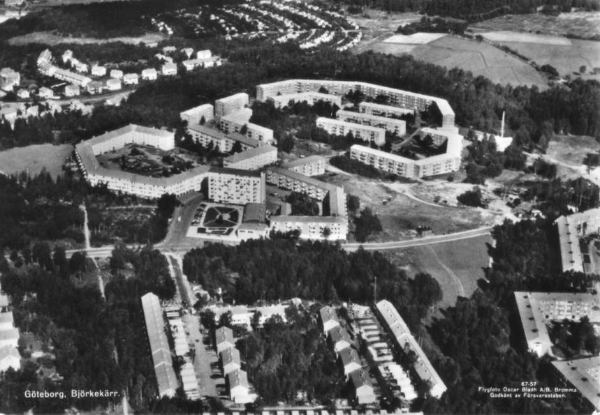 Vykort över Björkekärr 1957-58.