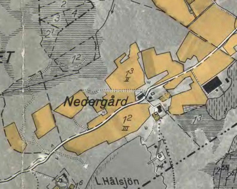 Hultet Nedergården på 1935 års ekonomiska karta.