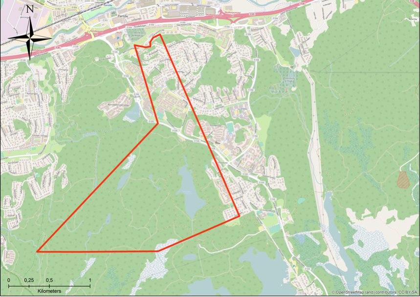 Östergårdens andel av utmarken, kartöverlägg utfört av Per Hallén 2016 utifrån
