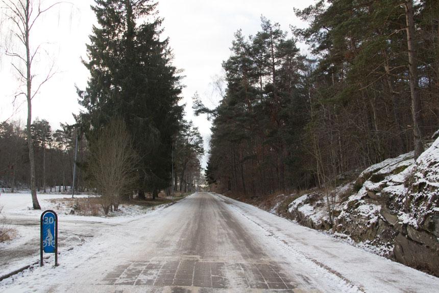 Vägen mot Härlanda tjärn idag. Om förslaget till ny skola blir verklighet skall