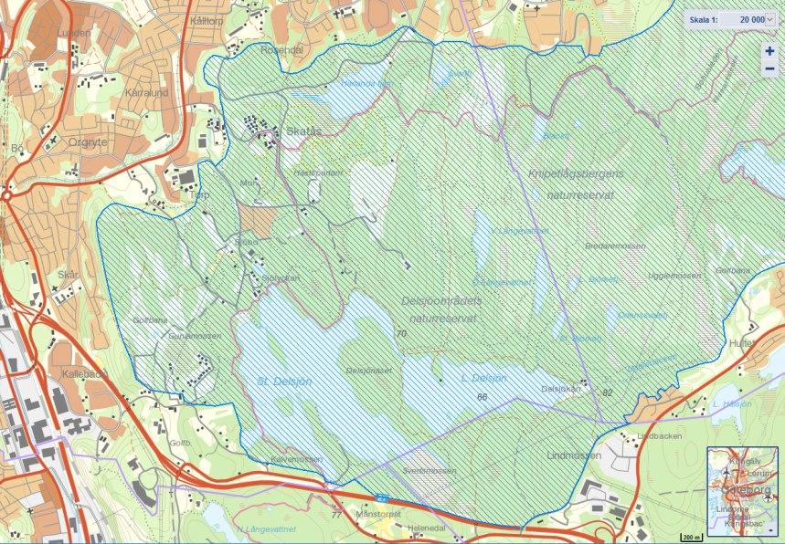 Riksintresset för friluftsliv i Delsjöområdet. Källa: Skyddad natur.