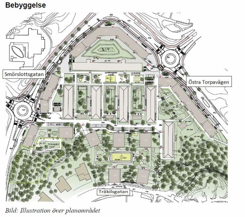 Karta över det planerade området. Höjdangivelserna på husen är inte korrekta jämfört med beskrivningen i planen.